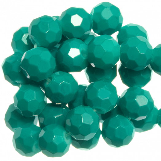 Faceted Beads Round (6 mm) Teal (100 pcs)