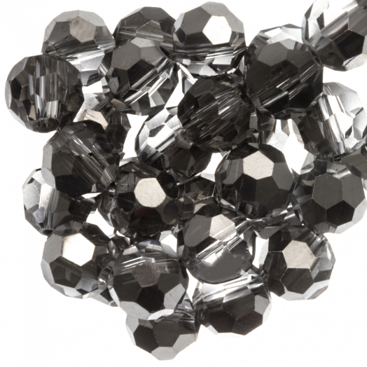 Faceted Beads Round (8 mm) Transparent Silver Grey Shine (72 pcs)