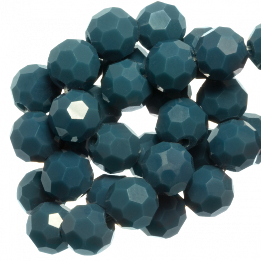 Faceted Beads Round (6 mm) Petrol (100 pcs)