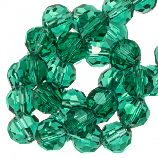 Faceted Beads Round (6 mm) Transparent Green (100 pcs)