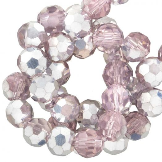 Faceted Beads Round (6 mm) Pink Silver Shine (100 pcs)