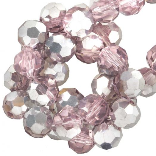 Faceted Beads Round (8 mm) Pink Silver Shine (72 pcs)
