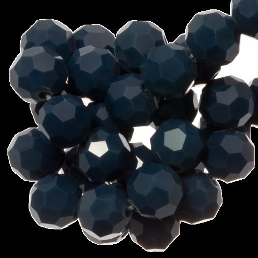 Faceted Beads Round (8 mm) Dark Petrol (72 pcs)