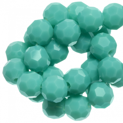 Faceted Beads Round (8 mm) Blue Peppermint (72 pcs)