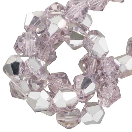 Faceted Beads Bicone (6 mm) Pink Silver Shine (50 pcs)