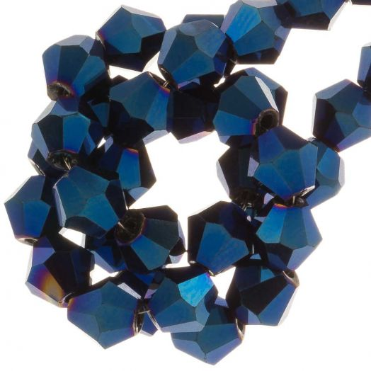 Faceted Beads Bicone (4 mm) Blue Shine (110  pcs)