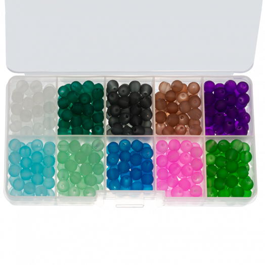 Advantage Package - Frosted Glass Beads (8 mm) Mix Color Bold (200 pcs)