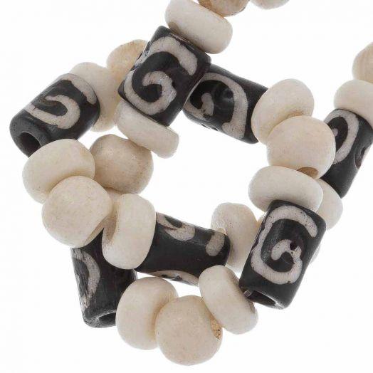 Bone Beads (9 x 5 - 7 x 3 - 6 x 5 mm) Mix Color (36 pcs)