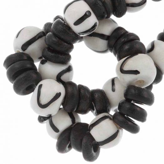 Bone Beads (8 x 6 - 7 x 2 mm) Mix Color (62 pcs)