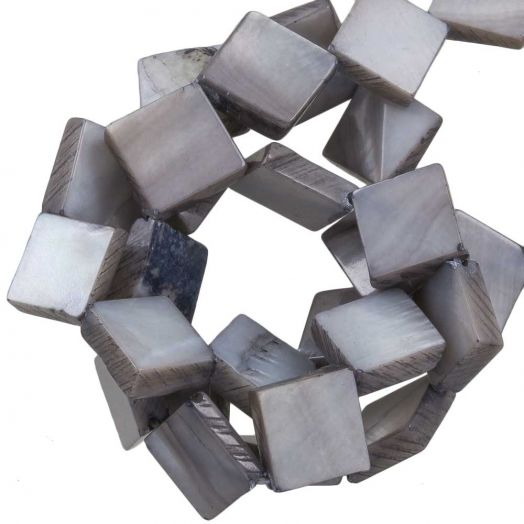 Shell Beads (10 x10 mm) Light Grey (35 pcs)