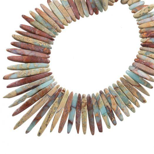 Aqua Terra Jasper Tusk Beads (16 - 52 x 5 - 6 x 5 - 5.5 mm) 85 pcs