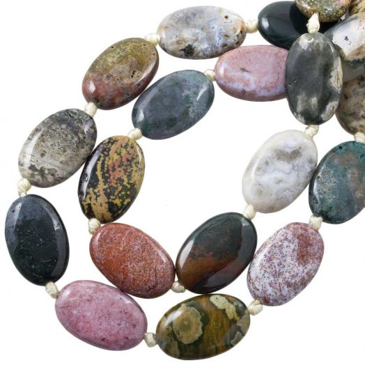 Ocean Jasper Beads (29 - 30 x 19 - 20 x 7.5 - 9 mm) 12 pcs