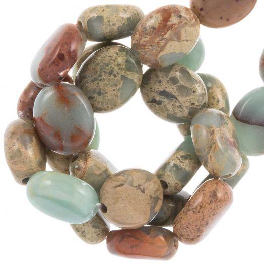 Aqua Terra Jasper beads (10 x 8 x 4.5 mm) 40 pcs