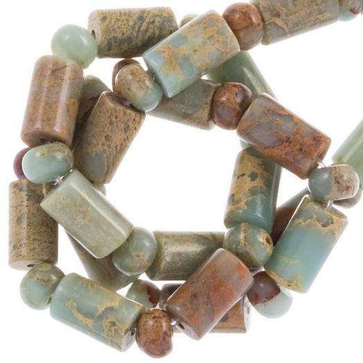 Aqua Terra Jasper beads (10 x 6 mm) 32 pcs