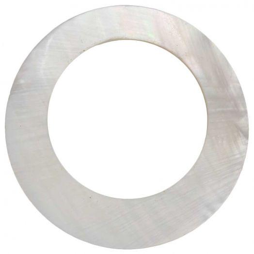 Pendant Shell Circle (45 x 45 mm)  White (1 pcs)