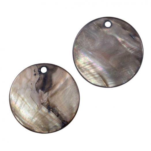 Charm Shell (25 mm) Grey Brown (25 pcs)