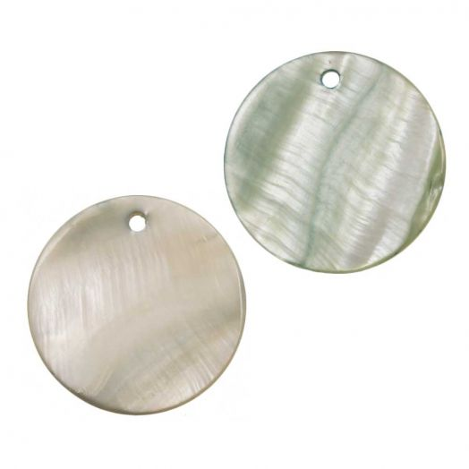 Charm Shell (25 mm) Cream Green (25 pcs)