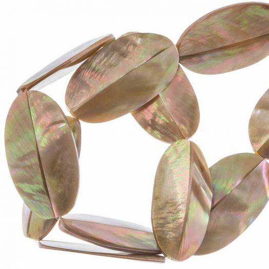 Shell Beads (31 x 17 mm) Brown Lip Shell (27 pcs)