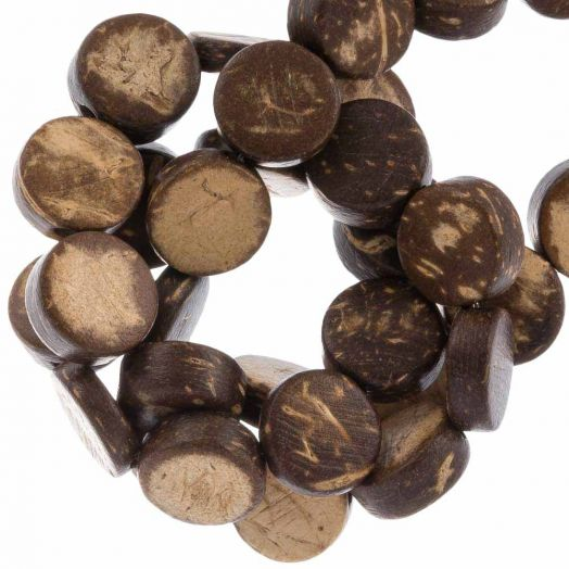 Coconut Beads (10 x 4 mm) Natural Brown (40 pcs)