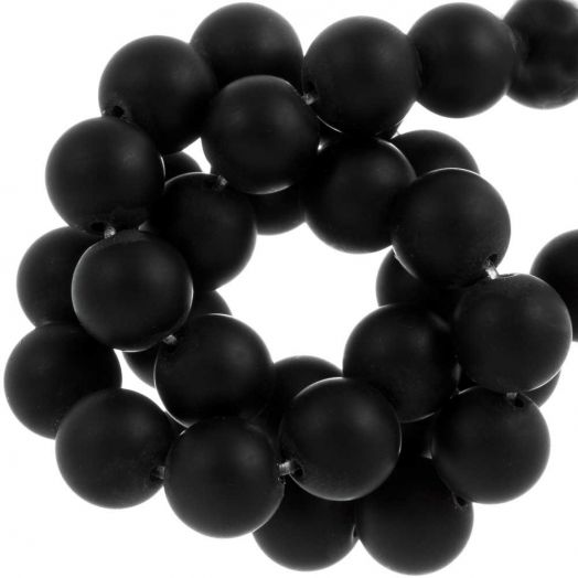 Black Stone Frosted Beads (8 mm) 50 pcs
