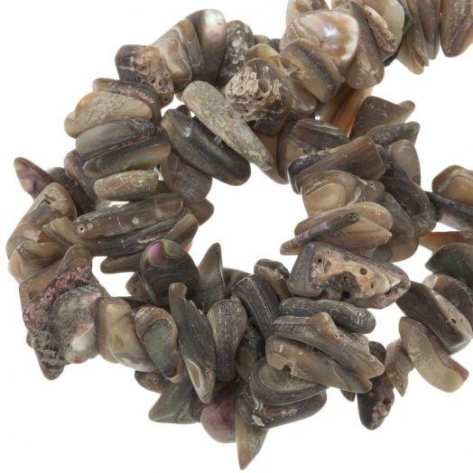 Shell Beads (14 x 6 mm ) Brown (121 pcs)