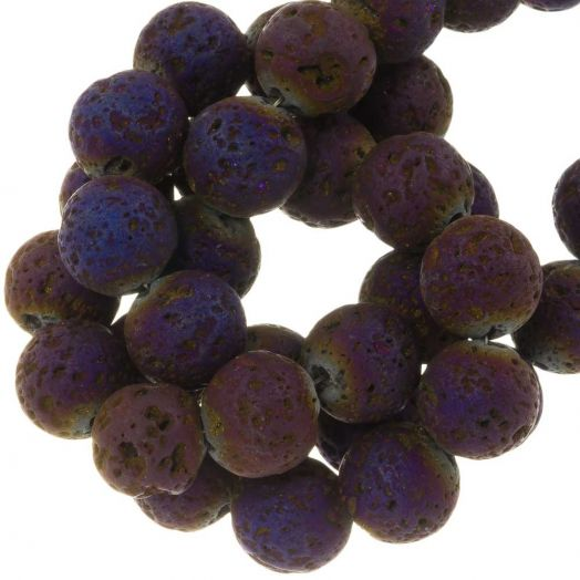 Lava Electroplated Beads (10 mm) Mix Color (39 pcs)