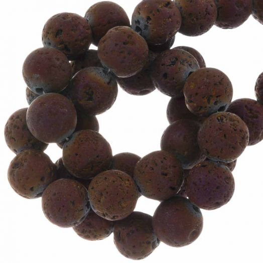 Lava Electroplated Beads (8 mm) Mix Color (48 pcs)