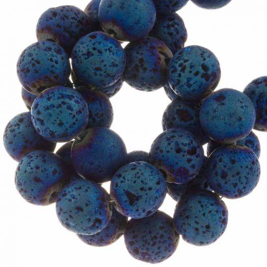 Lava Electroplated Beads (8 mm) Denim Blue (48 pcs)
