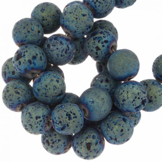 Lava Electroplated Beads (8 mm) Ocean (48 pcs)
