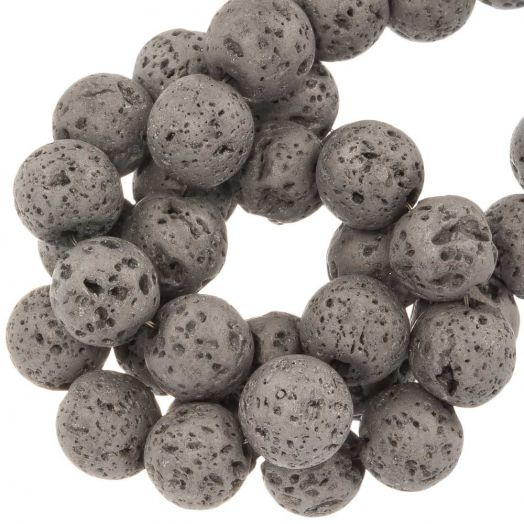 Lava Electroplated Beads (8 mm) Silver (48 pcs)