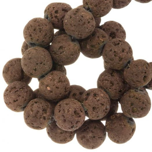 Lava Electroplated Beads (10 mm) Chocolate (39 pcs)