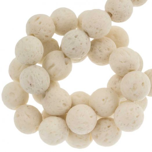 Lava Beads (8 mm) White (50 pcs)