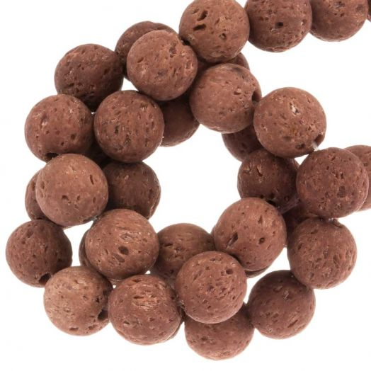 Lava Beads (8 mm) Red Chocolate (50 pcs)