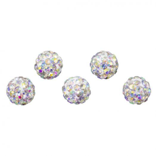Shamballa Beads (6 mm) Crystal AB (5 pcs)