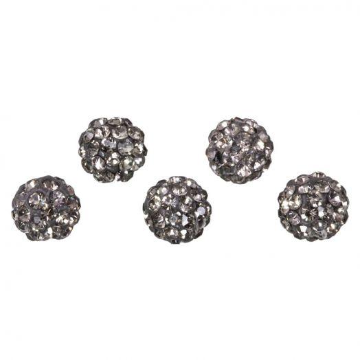 Shamballa Beads (6 mm) Black Diamond (5 pcs)