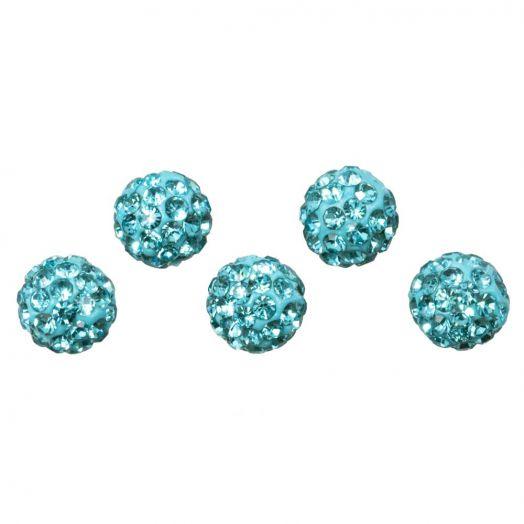 Shamballa Beads (6 mm) Aquamarine (5 pcs)