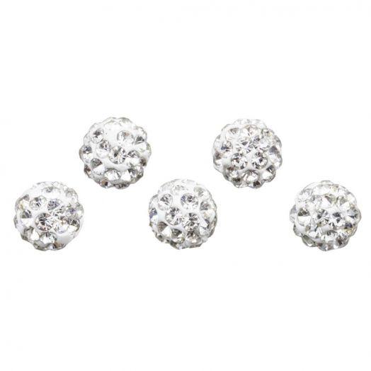 Shamballa Beads (6 mm) Crystal (5 pcs)