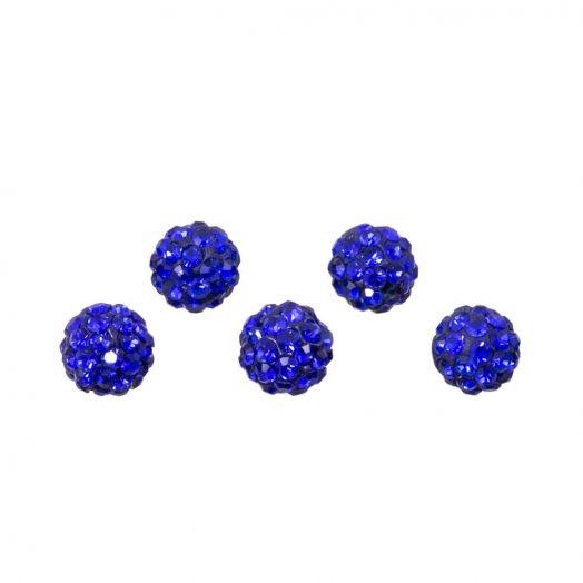 Shamballa Beads (4 mm) Sapphire (5 pcs)