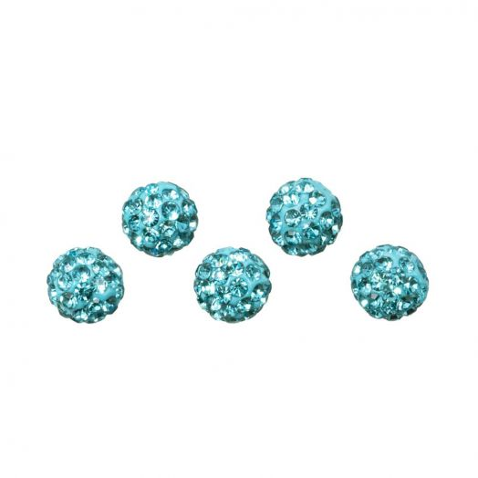 Shamballa Beads (4 mm) Aquamarine (5 pcs)