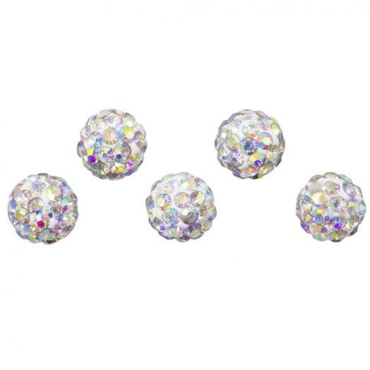 Shamballa Beads (8 mm) Crystal AB (5 pcs)