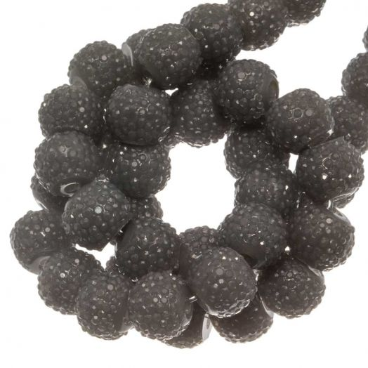 Acrylic Beads Rhinestone (8 mm) Grey (25 pcs)