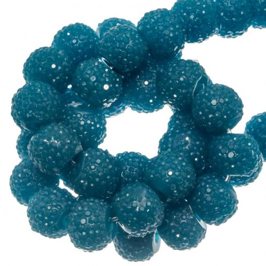 Acrylic Beads Rhinestone (8 mm) Ocean Blue (25 pcs)