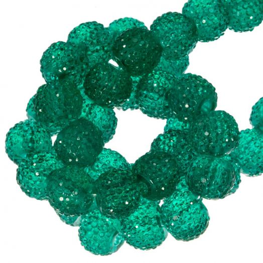 Acrylic Beads Rhinestone (8 mm) Tansparent Dark Green (25 pcs)