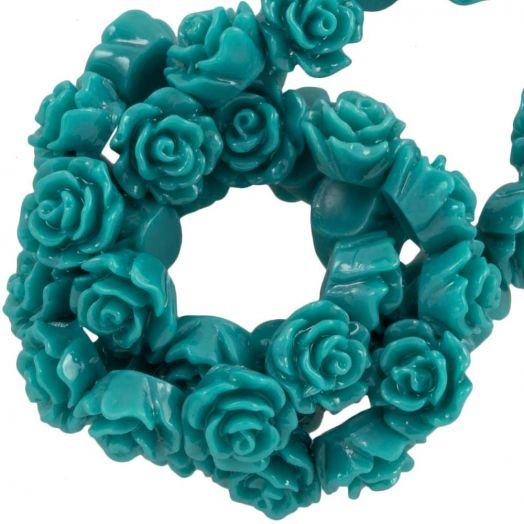 Resin Flower Beads (6 x 4 mm) Dark Teal (40 pcs)