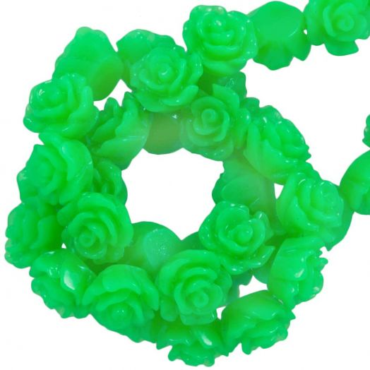 Resin Flower Beads (6 x 4 mm) Neon Green (40 pcs)