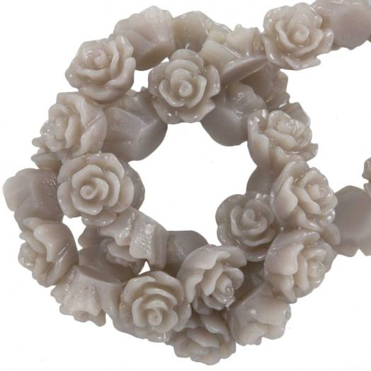 Resin Flower Beads (6 x 4 mm) Taupe (40 pcs)