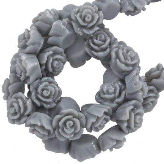 Resin Flower Beads (6 x 4 mm) Cool Grey (40 pcs)