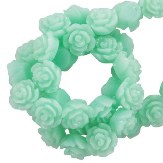 Resin Flower Beads (6 x 4 mm) Fresh Mint (40 pcs)