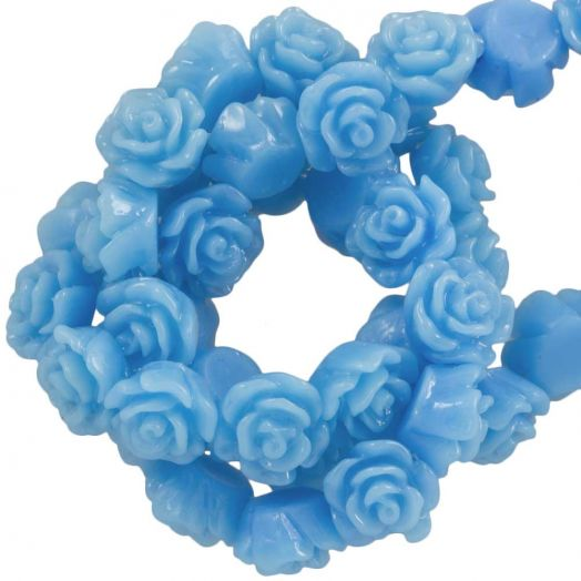 Resin Flower Beads (6 x 4 mm) Cornflower Blue (40 pcs)
