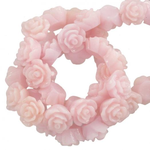 Resin Flower Beads (6 x 4 mm) Warm Pink (40 pcs)